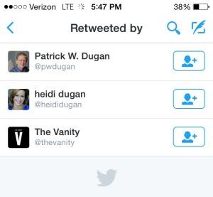 Retweets of The Vanity